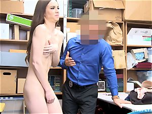 bony Tali Dova blows off the steam from horny mall cop