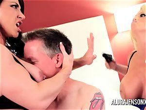 Alura Jenson cougar three-way fuck with Brandi May