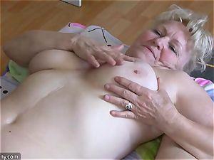 OldNannY big-titted bbw femmes loving With belt dick