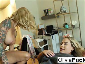 Creepy molten masseuse entices dumb blonde