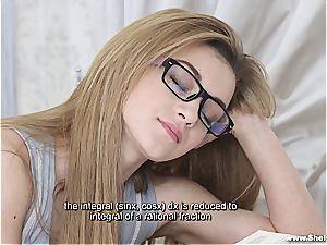 Nerdy Russian woman learning fresh stuff