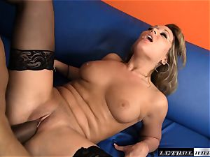 Ashley juicy penetrates in handsome dark-hued stockings