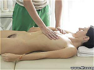 Russian female likes an erotic rubdown with savour