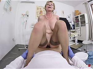 huge-boobed grandmother gets pov drilled by her doctor