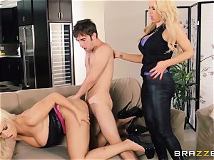 Nikki Benz and Bridgette B get sloppy with the security man
