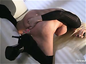 super hot blonde Britney teases & puts huge plaything in her snatch