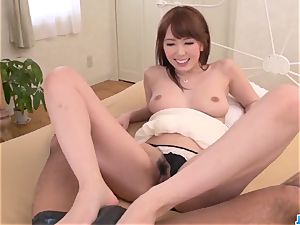 Serious home fuckfest on the bed for cock-squeezing Yui Hatano
