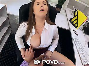 POVD huge-boobed secretary Lena Paul drills for promotion