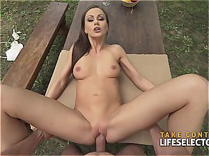 impressively fit black-haired cutie loves to get super-naughty in public