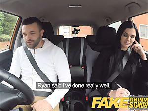 faux Driving school Jasmine Jae totally bare romp in car
