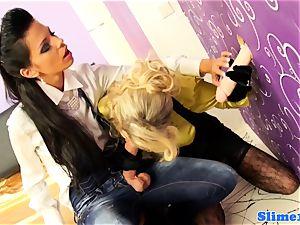 Bukakke lesbos cumcovered at the gloryhole