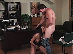 Selena Rose the office fuckslut helps her boss pull out the jism