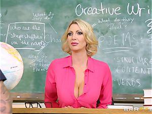 hefty jugged teacher Leigh Darby classroom smash