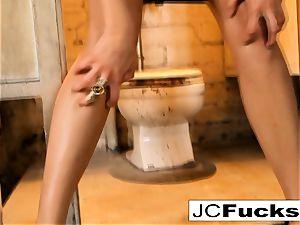 Grungy bathroom gets fantastic visitor named Jayden Cole