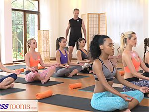 FitnessRooms sweat-soaked cleavage in a apartment utter yoga stunners