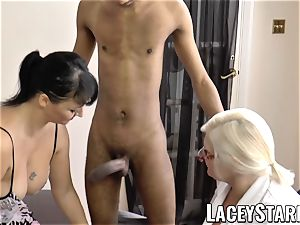 LACEYSTARR - Mature doctor boinked by interracial couple