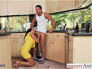 brown-haired wifey Rachel Starr taking knob in kitchen