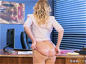 Britney Amber takes beef whistle at work