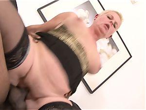 short hair granny takes rock-hard poon porking by big black cock