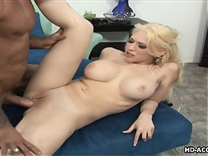 Smoking super hot blondie with hefty bra-stuffers gets drilled rock hard