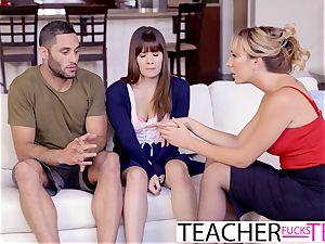 scorching educator Tricks schoolgirls Into three-way penetrate
