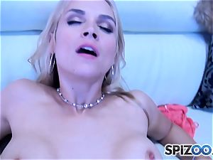 Sarah Vandella inhaling and screwing a large man sausage