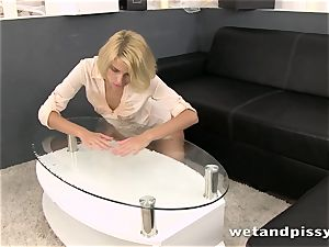 Karina Grand tastes and flips around in her own pee