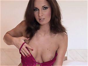 Lauren May splendid stunner taking off her maroon thong