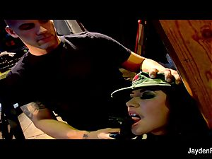 Army drilling with big-chested dark-haired Jayden Jaymes