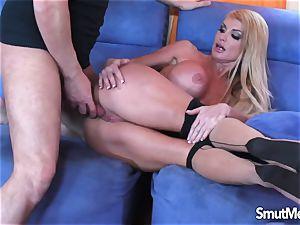gorgeous platinum-blonde milf lets a dude plow her