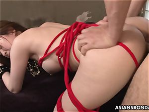 spraying japanese is tied up and used in a threesome