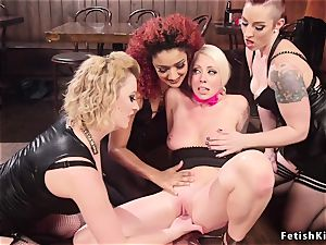 In dyke bar blond lesbo gets gang anal invasion