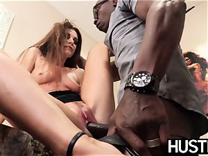 sumptuous India Summers spills after chomping down big black cock