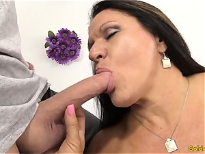 older brunette Takes a shaft in Her throat and labia