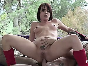 filthy Dana gets her brown-eye loped from behind