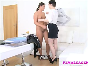 girl Agent shy sweetheart seduced plowed by big-chested agent