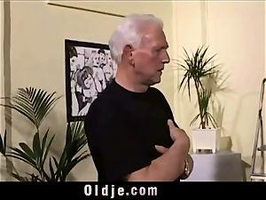 antique aged Teenie doll banged grey hair granddads