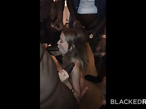 BLACKEDRAW nubile gets passed around and plumbed by group of BBCs