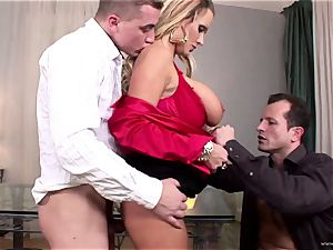 huge-boobed honey Sharon pinkish gets her facehole inserted with spear