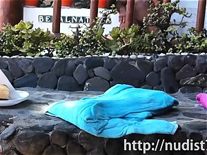 Spying on a super-cute sweetheart at the naturist beach spycam cam