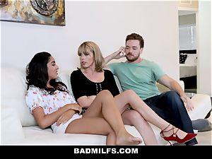 BadMILF - Jealous Stepmom threeway With Stepson And gf