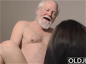 nubile Interrupts granddad from Yoga And bj's his trouser snake
