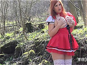 big-boobed red railing hood frolicking outdoors