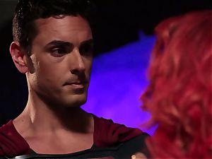 Britney Amber deepthroats off a kinky superhero