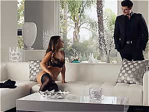 spectacular Eva Lovia is training her bf some manners before the party