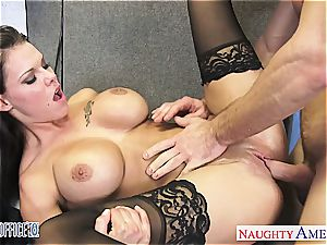 perfect Peta Jensen mischievous for his meaty manstick at the office