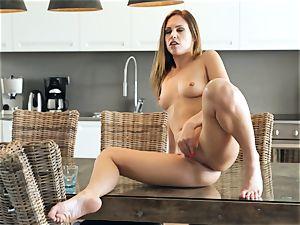 Jenny Appach tabletop solo masturbation