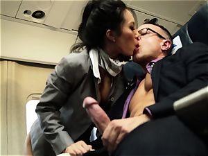 Asa Akira and her hostess buddies pound on flight