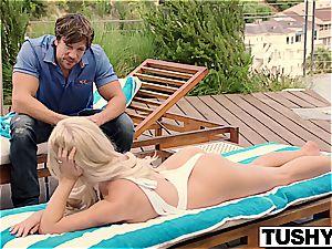 astounding platinum-blonde Tasha Reign tries nasty stuff with a paramour