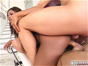 All inward Jasmins cooter and culo are torn up and trickling jizz